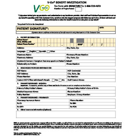 Patient Benefits Verification Fax Form
